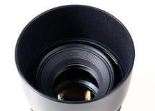Objektivhaube und Objektiv Stockbilder
