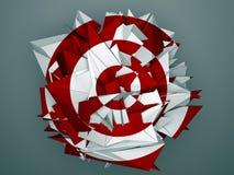 Objet abstrait blanc rouge d'isolement Image stock