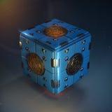 Objet abstrait de cube en techno boîte bleue en métal avec les rouages polis brillants de détail au centre de chaque visage diese Photographie stock libre de droits