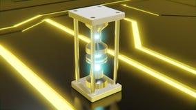 objet abstrait futuriste avec le noyau bleu rougeoyant et formes num?riques jaunes au n?on sur le rendu du plancher 3d illustration stock