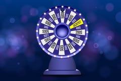 Objet bleu de la roue 3d de fortune sur le fond bleu circulaire defocused abstrait de bokeh Roue de la chance illustration stock