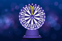 Objet bleu de la roue 3d de fortune sur le fond bleu circulaire defocused abstrait de bokeh Roue de loterie de chance Pot de Jack illustration de vecteur