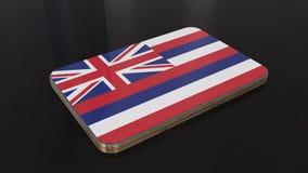 Objet brillant de drapeau d'Hawaï 3D d'isolement sur le fond noir illustration libre de droits