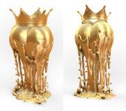 Objet d'art, totem, coeur d'or de trophée avec la couronne Photos libres de droits
