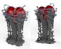 Objet d'art, totem, coeur rouge de trophée entouré par le fil de bavure Photos libres de droits
