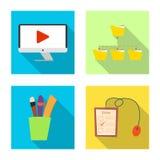 Objet d'isolement d'éducation et d'icône d'étude Ensemble d'icône d'éducation et de vecteur d'école pour des actions illustration de vecteur