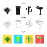 Objet d'isolement de café et de signe latin Collection de café et icône nationale de vecteur pour des actions illustration stock