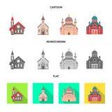Objet d'isolement de culte et de signe de temple Collection de culte et icône de vecteur de paroisse pour des actions illustration de vecteur