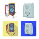 Objet d'isolement de l'électricité et d'icône électrique Collection de symbole boursier de l'électricité et d'énergie pour le Web illustration libre de droits