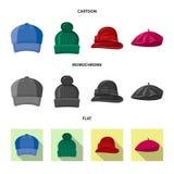 Objet d'isolement de logo de couvre-chef et de chapeau Collection de symbole boursier de couvre-chef et d'accessoire pour le Web illustration libre de droits