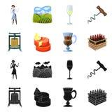 Objet d'isolement de logo de ferme et de vignoble Collection de symbole boursier de ferme et de produit pour le Web illustration de vecteur