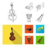 Objet d'isolement de logo de musique et d'air Ensemble de musique et de symbole boursier d'outil pour le Web illustration de vecteur