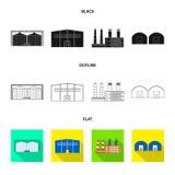 Objet d'isolement de logo de production et de structure Collection de production et d'illustration de vecteur d'action de technol illustration de vecteur