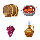 Objet d'isolement de logo de raisin et d'?tablissement vinicole Placez du raisin et du symbole boursier de fabrication pour le We illustration de vecteur