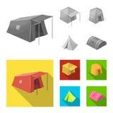 Objet d'isolement de logo de tente et de camp Collection d'illustration de vecteur d'actions de tente et de for?t illustration stock