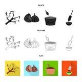 Objet d'isolement de nourriture et de signe délicieux Placez de la nourriture et de l'illustration courante brune de vecteur illustration stock