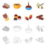 Objet d'isolement de nourriture et de symbole délicieux Collection de nourriture et icône brune de vecteur pour des actions illustration de vecteur