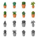 Objet d'isolement de signe de cactus et de pot L'ensemble de cactus et les cactus dirigent l'icône pour des actions illustration libre de droits