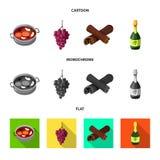 Objet d'isolement de signe de ferme et de vignoble Collection d'illustration de vecteur d'actions de ferme et de produit illustration de vecteur