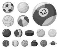 Objet d'isolement de sport et de logo de boule Collection de sport et icône sportive de vecteur pour des actions illustration de vecteur