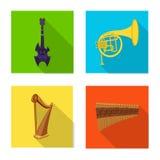 Objet d'isolement de symbole de musique et d'air Ensemble d'illustration courante de musique et de vecteur d'outil Illustration Libre de Droits