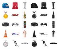 Objet d'isolement de voiture et de logo de rassemblement Ensemble d'icône de vecteur de voiture et de course pour des actions illustration stock