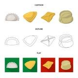 Objet d'isolement des produits et de l'icône de cuisson Collection des produits et du symbole boursier d'apéritif pour le Web illustration stock