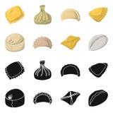 Objet d'isolement des produits et du logo de cuisson Collection des produits et de l'illustration de vecteur d'actions d'apéritif illustration stock