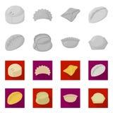 Objet d'isolement des produits et du logo de cuisson Placez des produits et du symbole boursier d'apéritif pour le Web illustration de vecteur