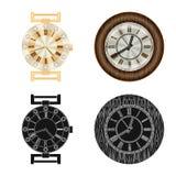 Objet d'isolement d'horloge et de signe de temps Collection de symbole boursier d'horloge et de cercle pour le Web illustration de vecteur
