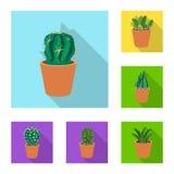 Objet d'isolement d'icône de cactus et de pot La collection du cactus et les cactus stockent l'illustration de vecteur illustration stock