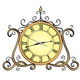Objet d'isolement sur le fond blanc, horloge de bureau Le rétro objet, antiquités, dirigent le style comique d'imitation illustration libre de droits