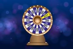 Objet de la roue 3d de fortune sur le fond bleu circulaire defocused abstrait de bokeh Roue de la chance illustration libre de droits