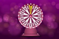 Objet de la roue 3d de fortune sur le fond bleu circulaire defocused abstrait de bokeh Roue de loterie de chance Pot de Jack illustration de vecteur