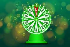 Objet de la roue 3d de fortune sur le fond bleu circulaire defocused abstrait de bokeh Roue d'or de loterie de chance Pot de Jack illustration de vecteur