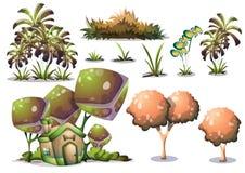 Objet de paysage de nature de vecteur de bande dessinée avec des couches séparées pour des capitaux de concepteur du jeu d'art et illustration stock