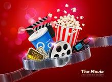 Objet de salle de cinéma de cinéma sur le fond clair de scintillement Photos libres de droits