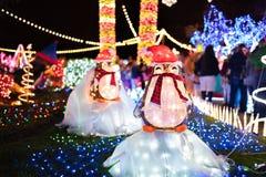 Objet exposé extérieur de lumières de Noël sous la forme de pingouins photos libres de droits