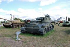 Objet exposé militaire de l'armée soviétique de 152 millimètres de l'obusier 2C3 de ` de ` autopropulsé d'acacia Image stock