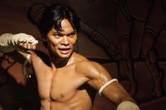 Objet exposé thaïlandais de figure de cire de boxeur Photographie stock libre de droits