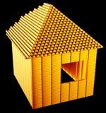 Objet immobilier cher : : forme de maison de barres d'or Image stock