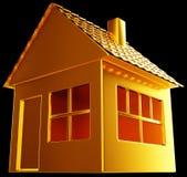 Objet immobilier coûteux : forme d'or de maison sur le noir Images stock