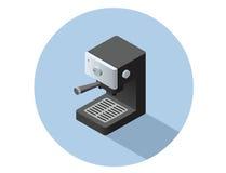Objet isométrique de machine de café de vecteur Images stock