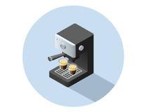 Objet isométrique de machine de café de vecteur Photographie stock