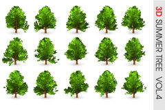 objet réglé de collection d'arbre de l'été 3D Photos stock