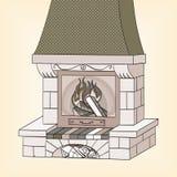 Objet sur la trame blanche de fond nuances de gris Une cheminée de brique brûle un arbre Les travaux et chauffe Le fond est illustration de vecteur