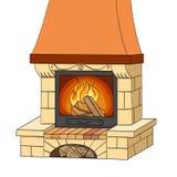 Objet sur la trame blanche de fond Une cheminée de brique brûle un arbre Les travaux et chauffe Le fond est rouge illustration stock