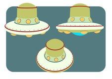 Objet unidenty d'UFO d'espace extra-atmosphérique dans le rétro style Photos stock
