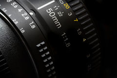 objetiva de 50mm para o vídeo da fotografia Fotografia de Stock
