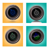 A objetiva no fundo, len o símbolo, sinal da câmera, Foto de Stock Royalty Free